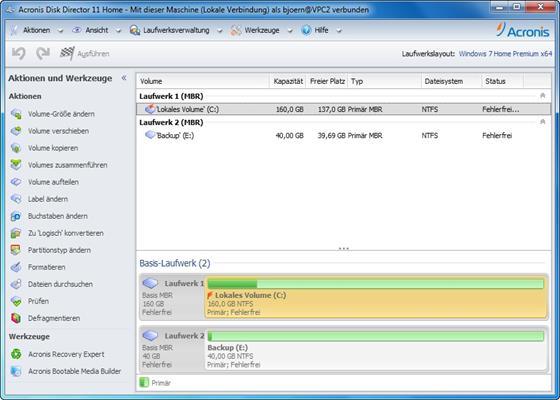 Скриншот программы acronis disk director