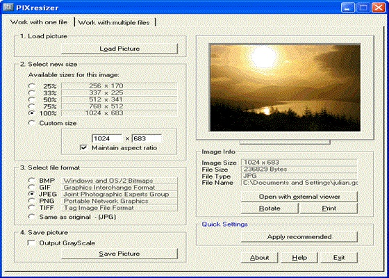 Скриншот программы pixresizer
