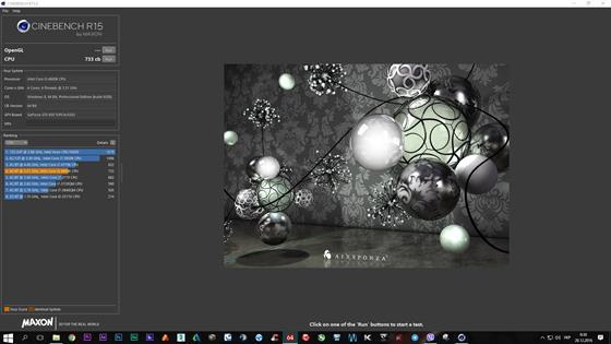 Скриншот программы cinebench