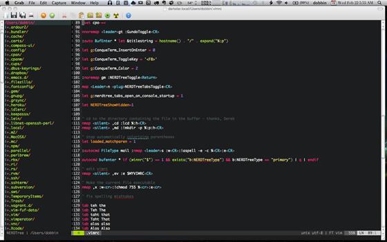 Скриншот программы vim