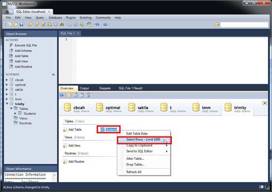 Скриншот программы mysql workbench