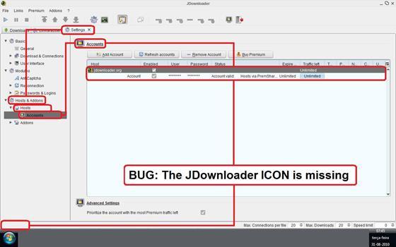 Скриншот программы jdownloader