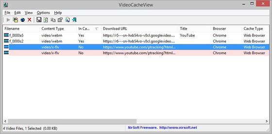 Скриншот программы videocacheview